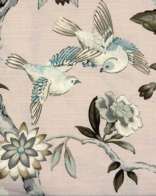 Drapery Upholstery Fabric Linen Like Cotton Birds & Flowers Print - Blush