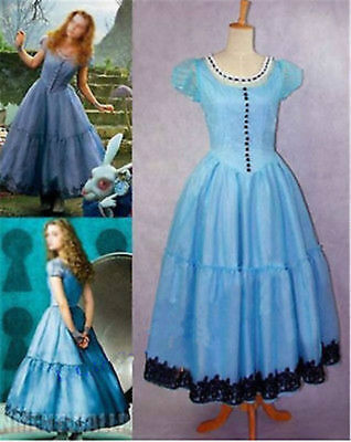 Tim Burton's Alice In Wonderland Cosplay Party Costume Blue Princess Dress  - Alice In Wonderland Tim Burton Dress