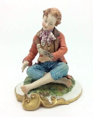 Volta Capodimonte Boy with Pigeon Figurine Porcellana 14cm 5.5