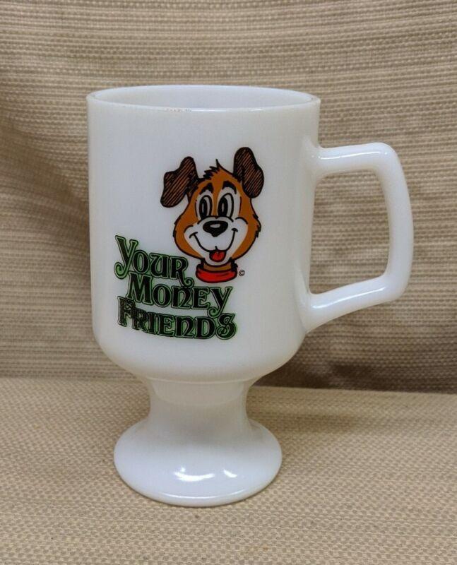 "Vintage Bank Of Oregon Wisconsin 5.5"" Milk Glass Mug ""Your Money Friends"" Dog"