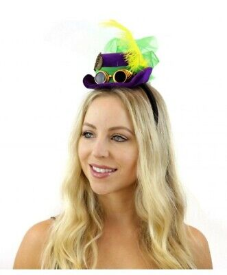 Mardi Gras Steampunk Mini Top Hat Headband w Goggles Feathers Ribbons Festival