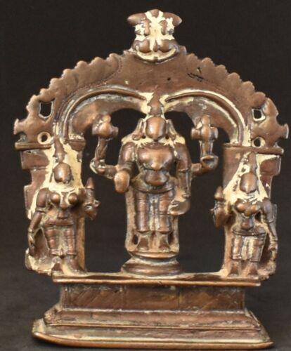 Vishnu with his consort Sri Devi and Bhu devi. Rare set. Hindu God 4.5 inches.