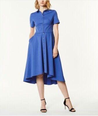 Karen Millen midi shirt corset dress blue Uk 10 RRP £199.00 BNWT