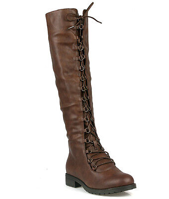 Brown PU Knee-high Lace up Boots Low Block Heel Women's Flat shoes (Lace Up Knee High Flat Heel Boots)