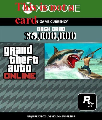 Grand theft auto V Online $6,000,000 Shark card GTA 5 Xbox One (Not a card)