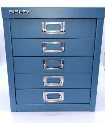 Bisley 5 Drawer Steel Desktop Multi Drawer Storage File Cabinet Blue Exc