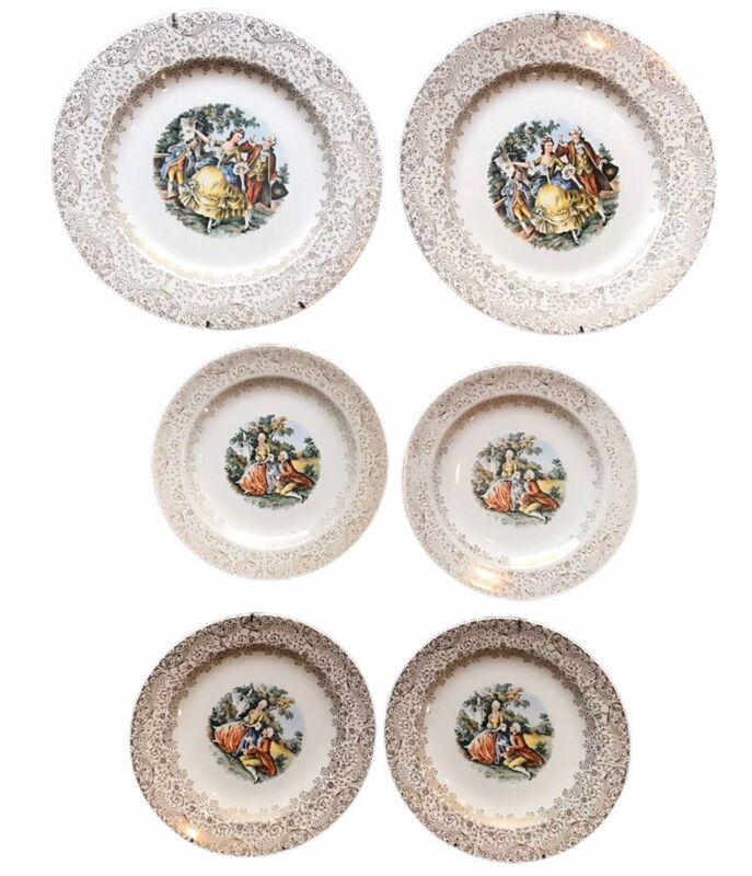 Royal China Warranted Colonial Plates (6) with 22 Karat Gold Floral Trim