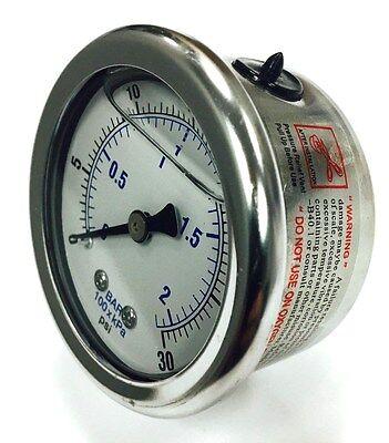 110162 Quincy Oil Pressure Gauge 18 Rear Back Mount 0-30 Psi Liquid Filled