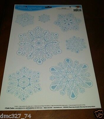 1 Sheet CHRISTMAS Winter FROZEN Party Decoration SNOWFLAKE WINDOW CLINGS Cling