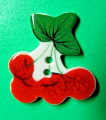 "(1) 1 1/2"" GREEN LEAF RED CHERRY CHERRIES CERAMIC 2-HOLE BUTTON (B295)"