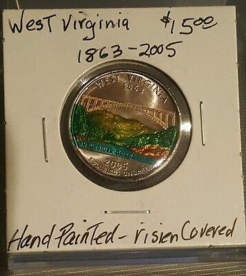 Hand Painted State Quarter - 2005 P WEST VIRGINIA STATE QUARTER Hand Painted coated Resin