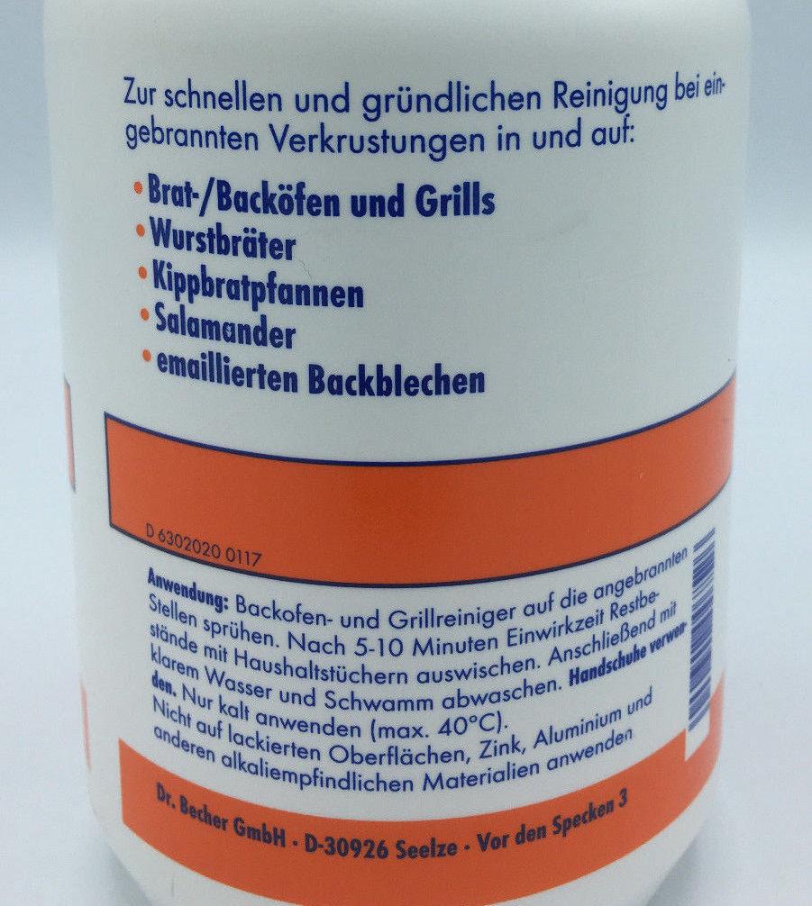 Dr. Becher Backofen und Grillreiniger Sprühflasche 1,0l Fettlöser Grill Rein