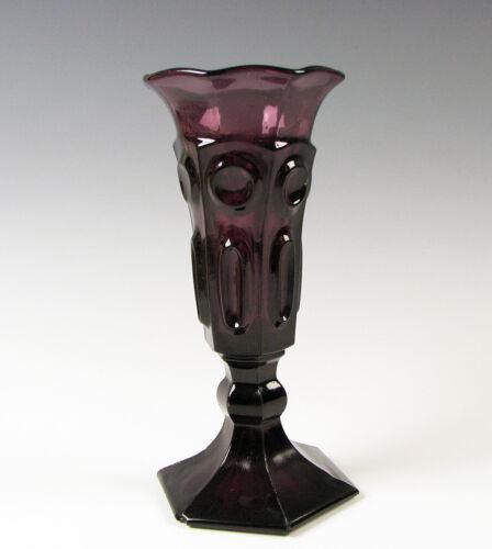 Antique Early American Flint Glass Circle & Ellipse Amethyst Vase