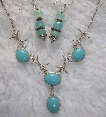 Aqua Blue Necklace Dangle Earrings Set Tribal Look New Gift Plus FREE BONUS