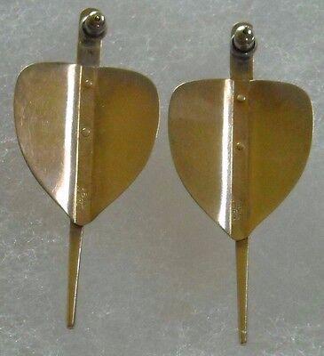Vintage Signed Ed Levin14K/Sterling Silver Modernist Earrings 8.3g