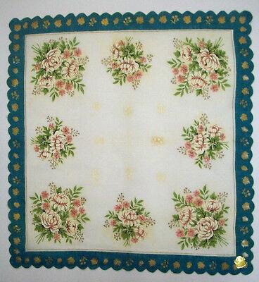 Hamilton white Mums floral flowers unused vintage handkerchief