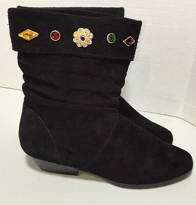 Vtg A J Valenci 80s Jeweled Back Suede Leather Fashion Boots Size 8.5M SBF
