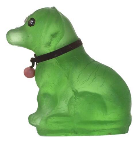 Antique CZECH Glass CRACKERJACK Cracker Jack Charm Dog Green 3cm