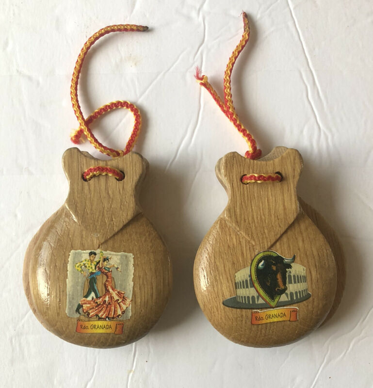 Set Of Vintage Wooden Castanets (2) SPANISH From Granada NICE!