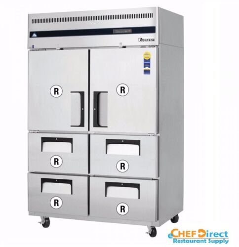 Everest Esr2d4 Two Half Door And Drawer Combo Upright Reach-in Refrigerator