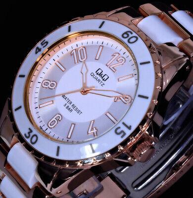Q&Q by Citizen Damenuhr Armband Uhr Weiß Rosegold Farben 5 Atm