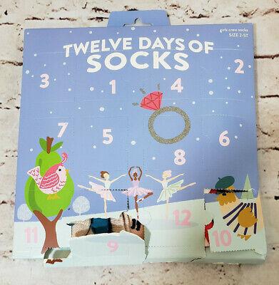 12 Days Of Christmas Crew Socks Advent Calendar Girls Size 2-5T 12 Pair