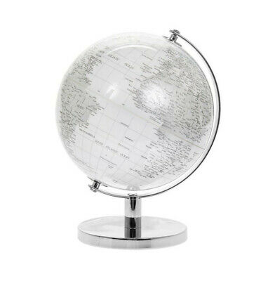 CONTEMPORARY WHITE & SILVER LARGE GLOBE METAL BASE ATLAS TABLE DESK ORNAMENT