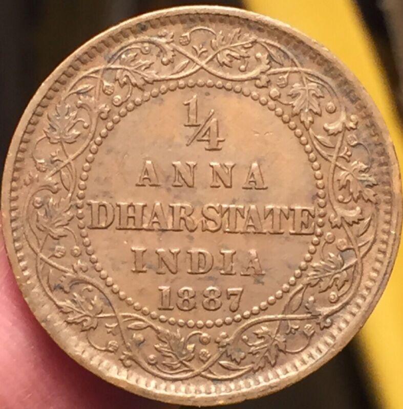 British India Princely States Dhar Quarter 1/4 Anna 1887 Nice Grade-Rare-See Pic