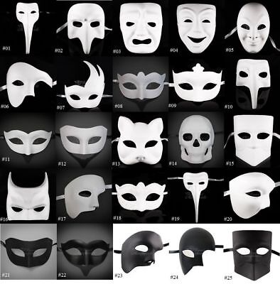 DIY Unpainted Mardi Gras Venetian Black & White Blank Masquerade Mask (Black And White Venetian Mask)