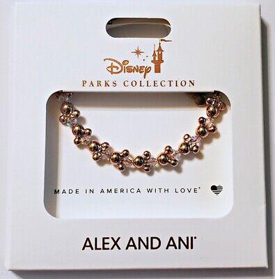 Disney Crystal Bracelet - Disney Parks ALEX & ANI bracelet Mickey icons beaded crystal - gold tone - NEW
