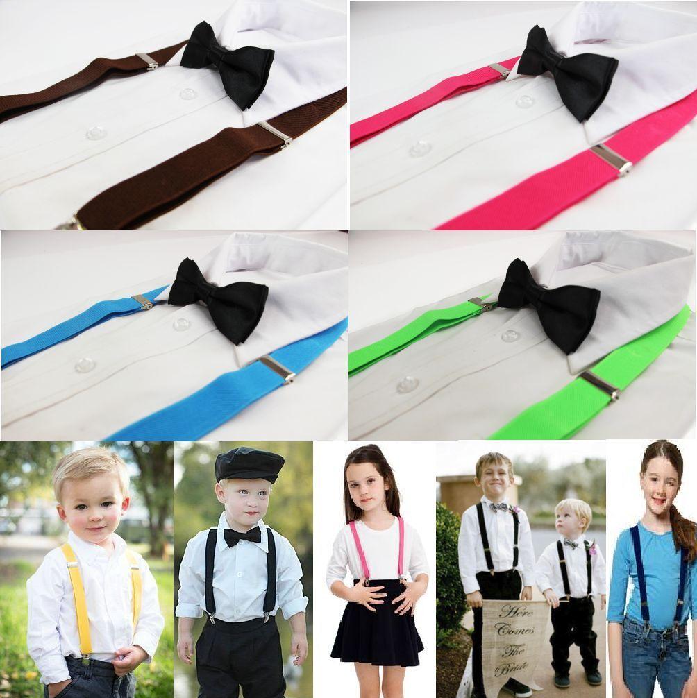 Kids//Boys Braces with Matching Satin Bow Tie /& Hanky