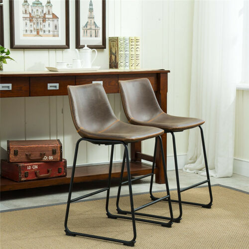 Peachy Details About 2 Pack Vintage Counter Height Stools Bar Stool Chair W High Back Sunken Seat Gmtry Best Dining Table And Chair Ideas Images Gmtryco