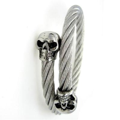 NEW Gothic twin Skull bangle cuff bracelet biker