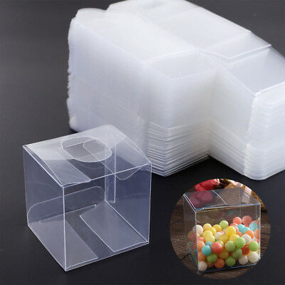 10/50/100X Square Transparent PVC Cube Gift Candy Boxes Clear Wedding Party Decr](Clear Candy Boxes)