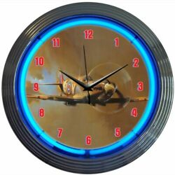 Supermarine Spitfire Airplane Blue Neon Hanging Wall Clock 15 Diameter 8SPITF