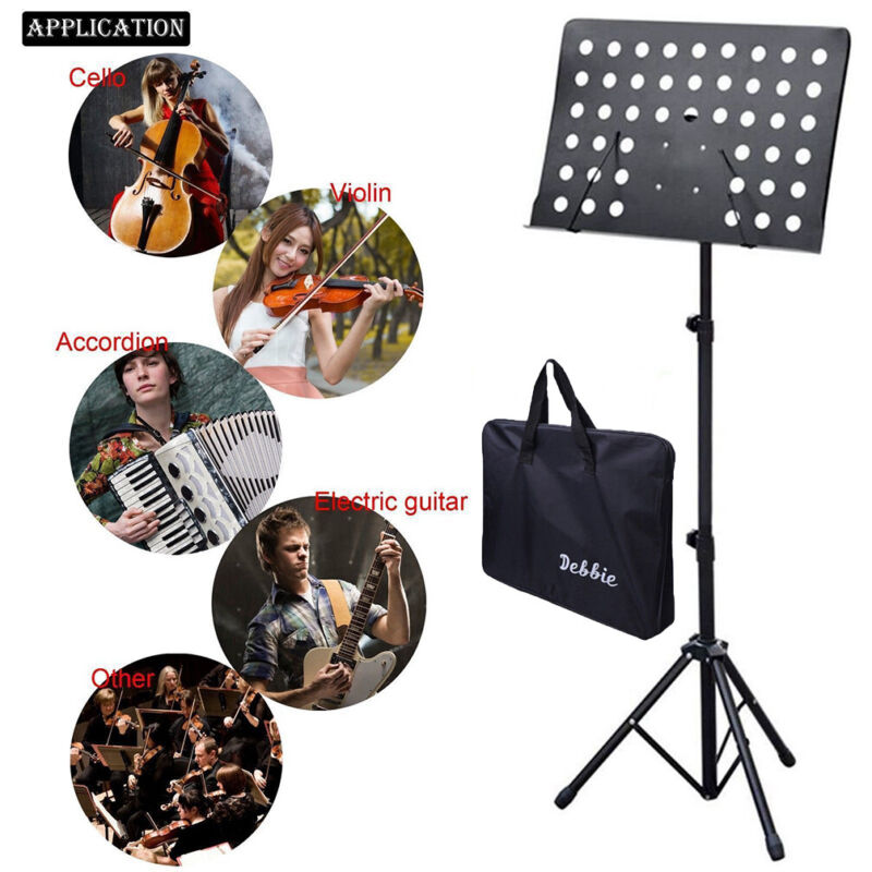 Heavy-Duty Professional Folding Orchestra Band Conductor Sheet Music Stand Black