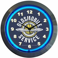 Oldsmobile Service Logo Blue Neon Hanging Black Wall Clock 15 Diameter 8OLDSM