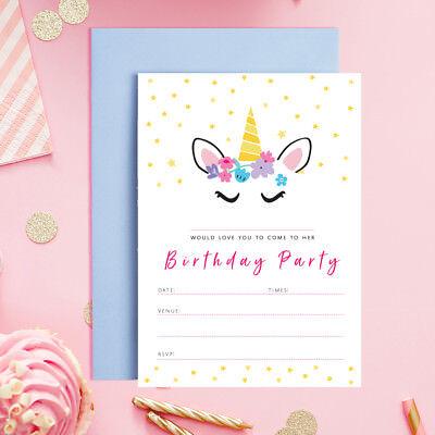 Unicorn Theme Birthday Party Invitation Children Invites for Girl Unicorn Horn
