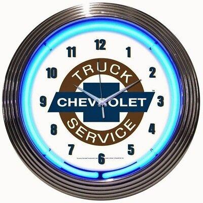 Chevrolet Truck Service Neon Clock - GM - Chevy - Parts - Sales - Dealer Trucks