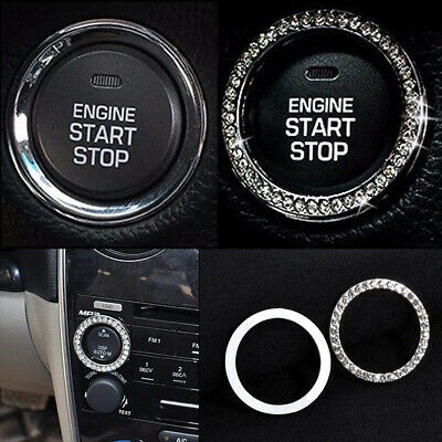 1x Auto Car SUV Decorative Silver Switch Diamond Ring Accessories Button Start for sale  Shipping to Canada