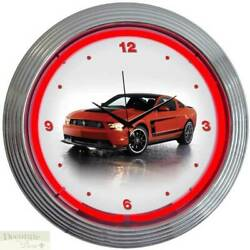 FORD MUSTANG BOSS 302 Neon 15 Wall Clock Glass Face Chrome Plate Warranty New