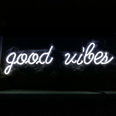 """New Good Vibes White Color Acrylic Back Neon Light Sign 14"""""""