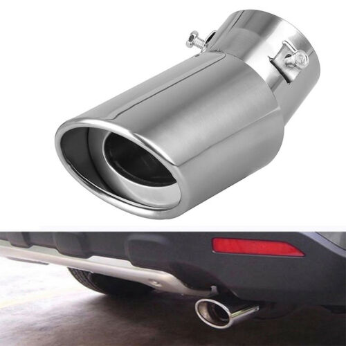 Car Parts - Silver Chrome Car SUV Truck Tail Throat Pipe Exhaust Pipe Trim Tips Muffler Pipe
