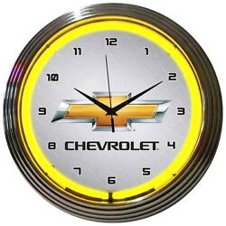 GM Chevrolet Yellow Neon Clock 15x15