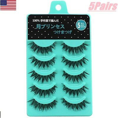 5 Pairs Natural Makeup Handmade Thick False Eyelashes Long Eye Lashes Extension