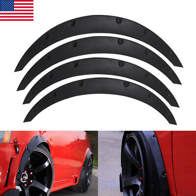 4x Universal Flexible Car Fender Flares Extra Wide Body Wheel Arches Gloss Black