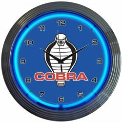 Ford Mustang Cobra Blue Neon Hanging Wall Clock 15 Diameter Neonetics 8COBRA