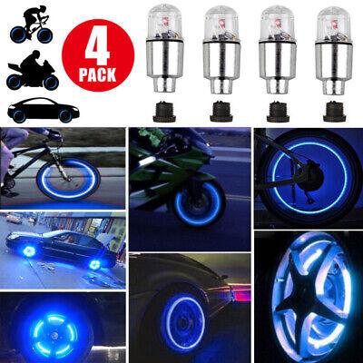 4Pcs Blue Bike Car LED Wheel Tyre Tire Air Valve Stem Cap Light Lamp Accessories
