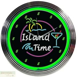 ISLAND TIME GREEN NEON CLOCK 15 Wall Glass Face Chrome Finish Palm Tree Sun New