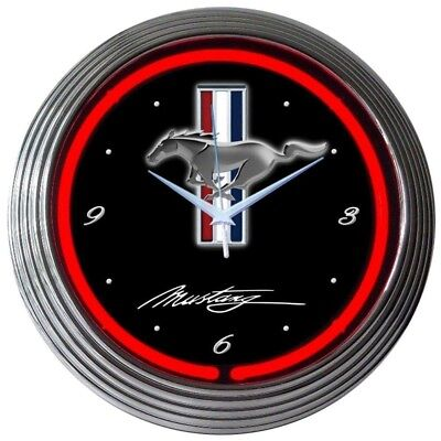 """Used, Ford Mustang Car Garage Neon Clock 15""""x15"""" for sale  Hampstead"""